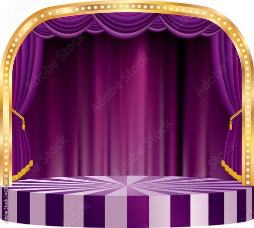 big purple round stage