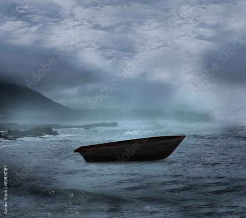 Sail boat on open water