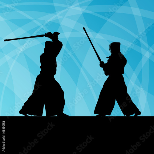 Active japanese kendo sword martial arts fighters sport silhouet
