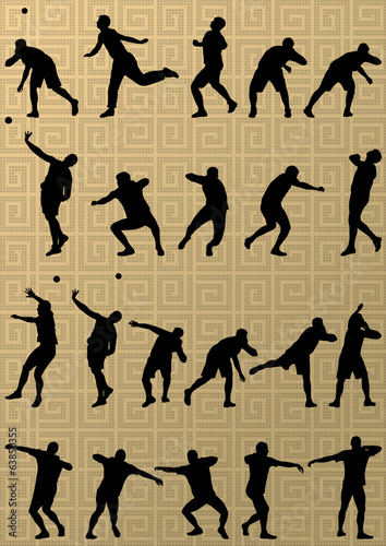 Male sport athletics. ball throwing silhouettes collection. abst