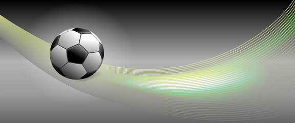 Soccer Ball on Banner with Swooshes for Public Viewing Events