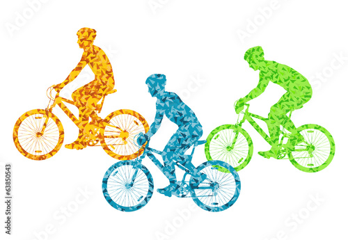 Colorful sport road bike rider bicycle silhouette background ill