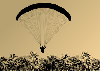 Paragliding active sport background landscape concept vector wit