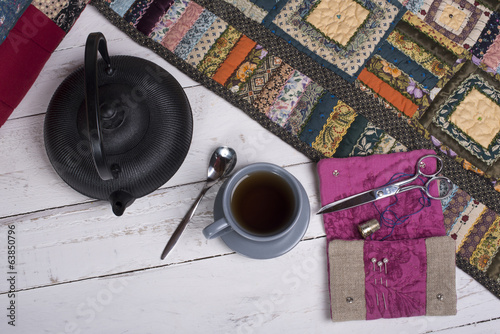 tea break during the quilting