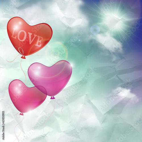 Retro background -- blue sky with sun, clouds and balloons