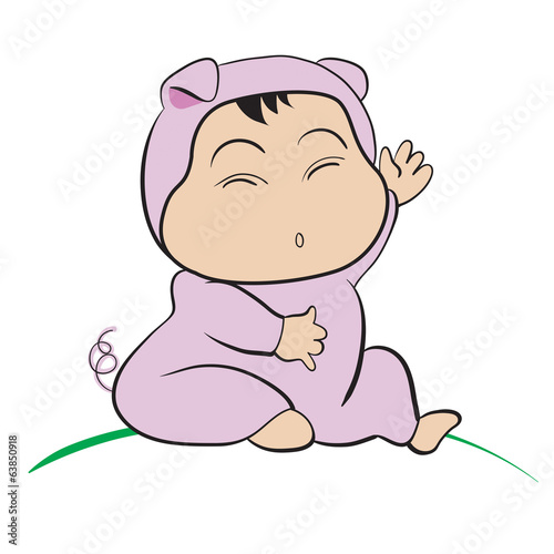 Baby in Pig Costume  : done in a hand-drawn vector illustration
