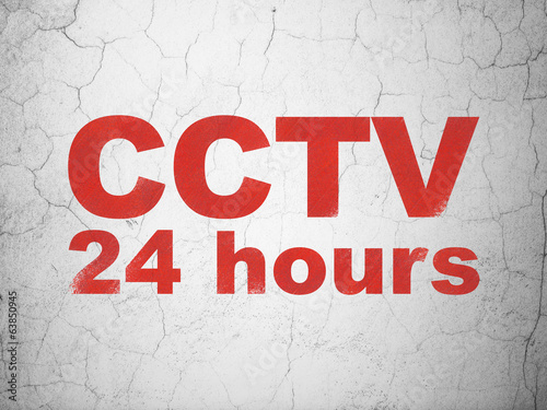 Safety concept: CCTV 24 hours on wall background