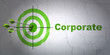Business concept: target and Corporate on wall background