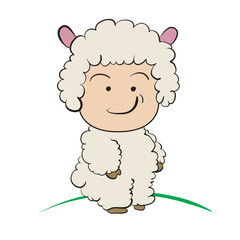 Baby in Sheep  Costume  : done in a hand-drawn vector illustrati