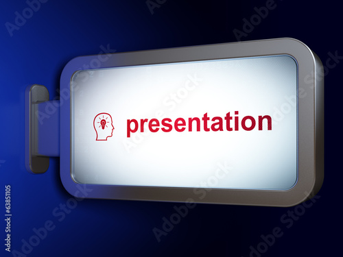 Advertising concept: Presentation and Head With Lightbulb on