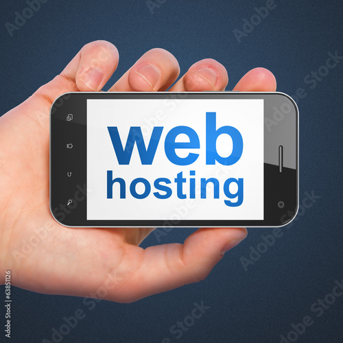 SEO web development concept: Web Hosting on smartphone