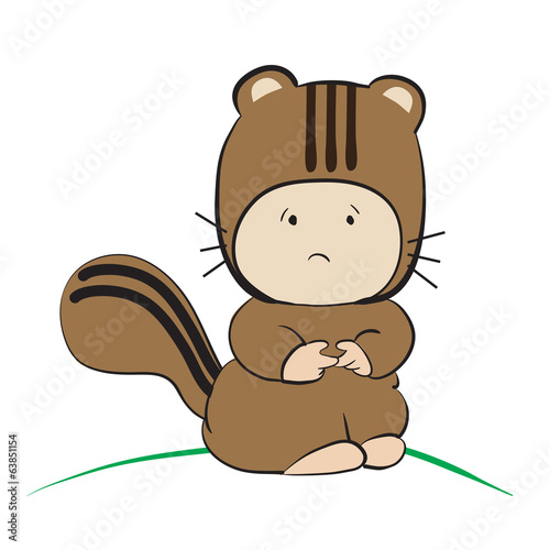 Baby in Squirrel Costume  : done in a hand-drawn vector illustra