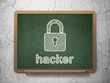 Security concept: Closed Padlock and Hacker on chalkboard