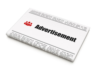 Advertising concept: newspaper with Advertisement and Business