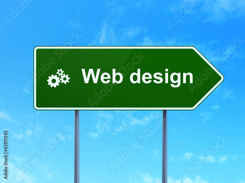 Web development concept: Web Design and Gears on road sign