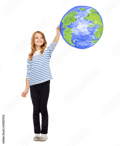 girl drawing planet earth in the air