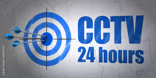 Security concept: target and CCTV 24 hours on wall background