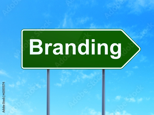 Marketing concept: Branding on road sign background