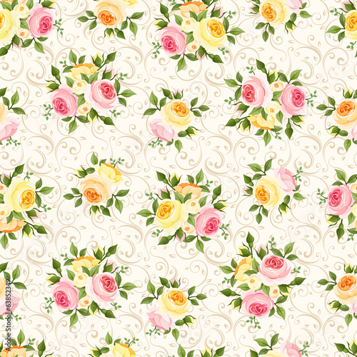 Seamless pattern with pink, orange and yellow roses. Vector.