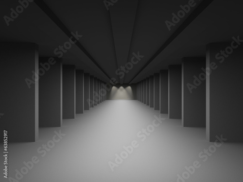 Hall, corridor with columns. The concept of goals and a bright f