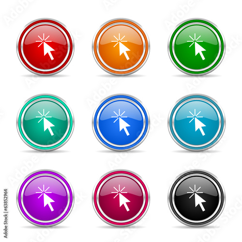 click here vector icon set