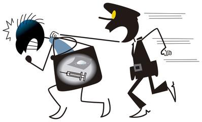 麻薬の売人を捕まえる警察官