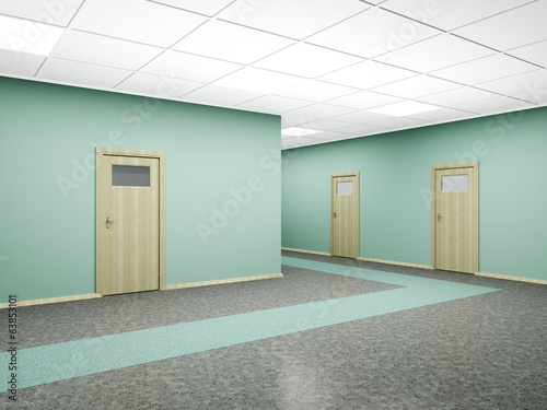 Corridor in modern office interior. 3D render.