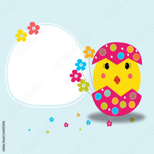 Happy easter greeting card and chick vector