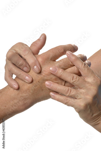 Hand massage on a white background