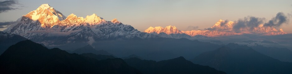 Evening panoramic view of mount and Annapurna