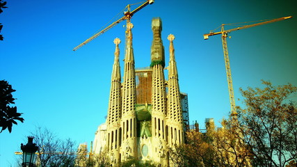 Cathedral Sagrada Familia famous church and landmark