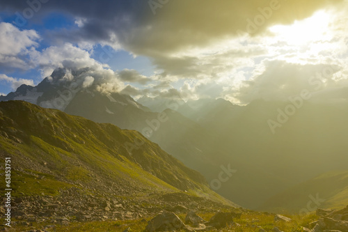 mountain landscape by a sunny day