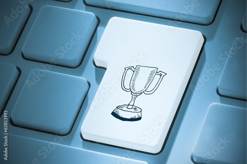 Composite image of winners cup on enter key