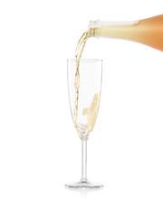 Glas Sekt beim Einschütten