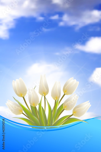 Bright card with tulips.