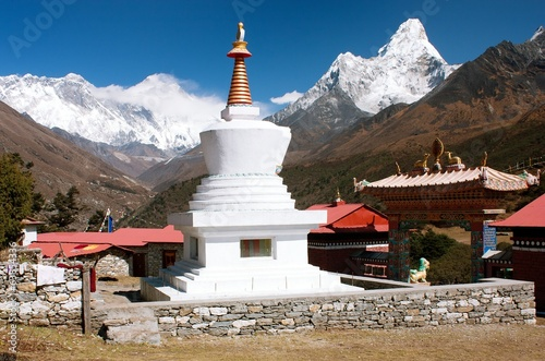 Ama Dablam Lhotse and top of Everest from Tengboche - Nepal