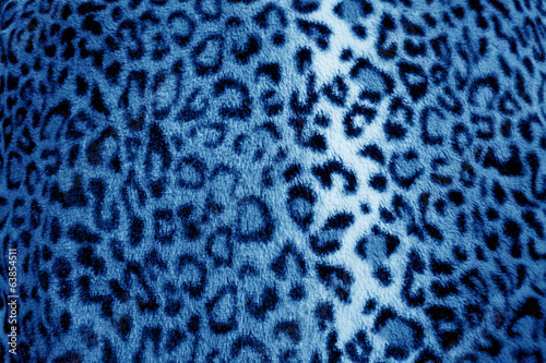 Blue retro leopard animal print fur pattern - fabric