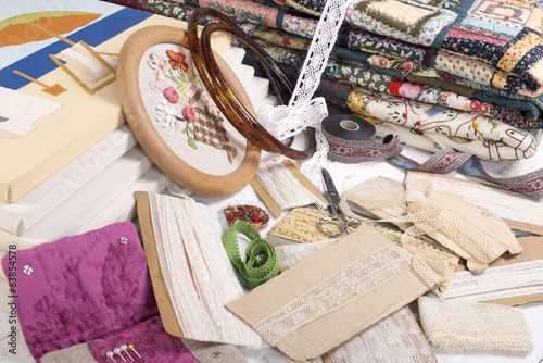 Quilting equipment and fabrics.