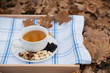 The cup of tea and the plate with hazelnuts is on a napkin
