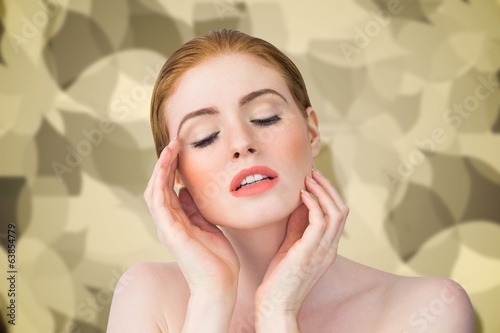 Composite image of beautiful redhead posing with hands