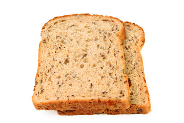 Slices of seeded brown bread on white background