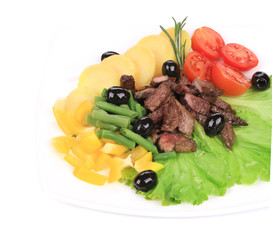 Salad with beef fillet and potatoes.