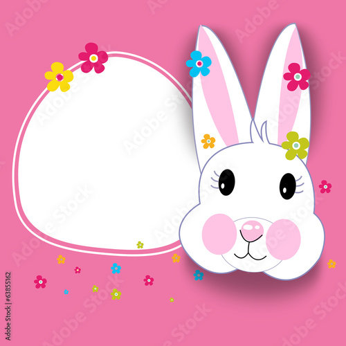 Happy easter card and cute rabbit vector
