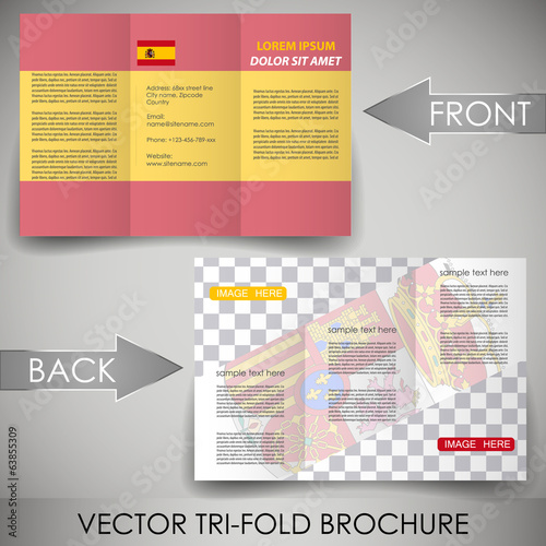 Business flyer template, corporate brochure with Spain flag