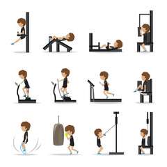People At The Gym Exercising - Isolated On White Background