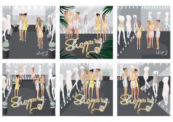 Shopping Women - Vector Illustration, Graphic Design