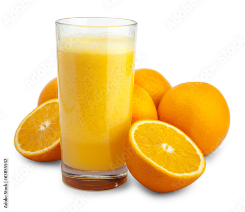 Orange juice and slices isolated