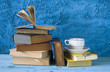 books with a cup of coffee and eyeglasses, free copy space