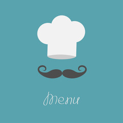 Chef hat and big mustache. Menu card. Flat design style.