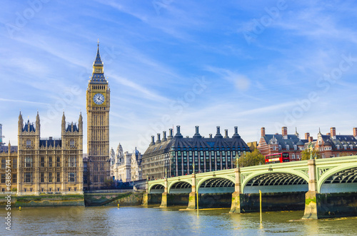 London Westminster Bridge, Houses of Parliament and Thames river, UK